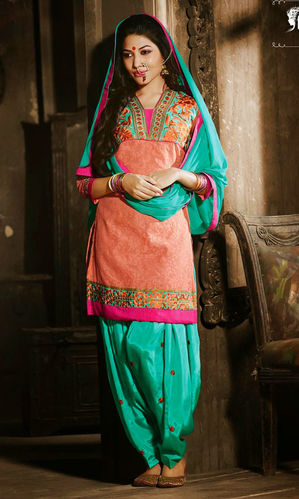 Peach & Sea Green Cotton Patiala Suit
