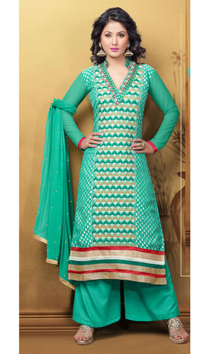 Hina Khan Sea Green Brasso Suit