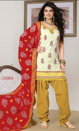 Sayali Bhagat Cream & Yellow Cotton Suit with Dupatta Work