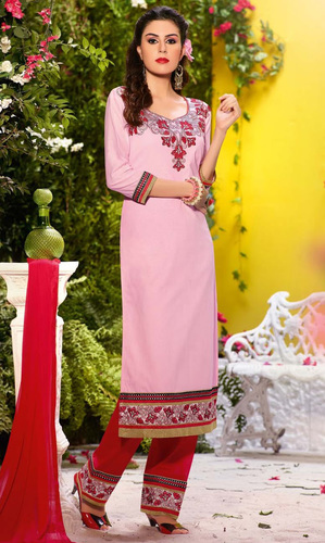Light Pink Cotton Suit with Bottom Work