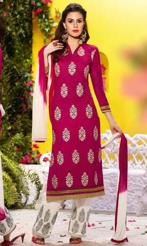 Magenta Cotton Suit with Bottom Work