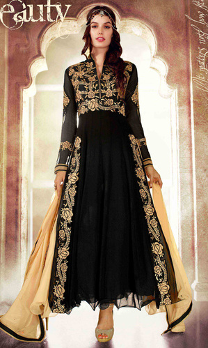 Black Georgette Designer Anarkali Suit (Amyra 25002)