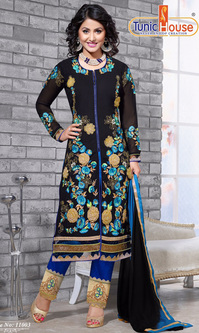 Hina Khan Black Georgette Suit (Nayantara - 11003)