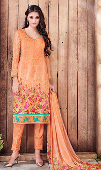 Orange Digital Print Pure Georgette Suit (Aroma 948)