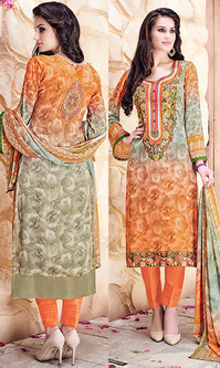 Orange & Beige Digital Print Pure Georgette Suit (Aroma 950)