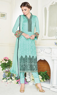 Turquoise Embroidered Georgette Straight Suit (Royale - 742)