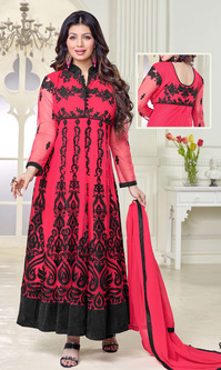 Ayesha Takia Hot Pink & Black Net Suit (Noorjaha - 90001)