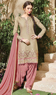 Beige Embroidered Cotton Patiala Salwar Suit (Queen of Patiala 5 - 911)