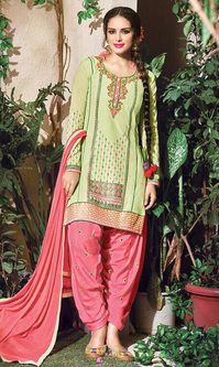 Pista Green Embroidered Cotton Patiala Salwar Suit (Queen of Patiala 5 - 915)