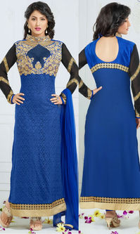 Hina Khan Royal Blue Rasal Net Suit (Heerrni 43004)