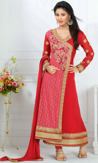 Hina Khan Pink & Red Rasal Net Suit (Heerrni 43005)
