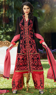 Black Red Embroidered Georgette Suit with Bottom Work (Rolex 2 - 10043)