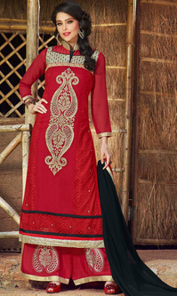Red Embroidered Georgette Suit with Bottom Work (Rolex 2 - 10045)