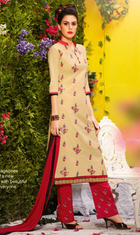 Beige Cotton Suit with Bottom Work (Fastrack - 606)