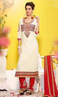 Off White Cotton Suit with Bottom Work (Fastrack - 610)