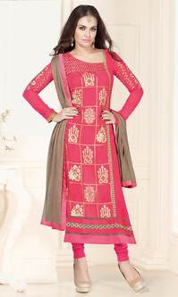 Hot Pink Georgette Suit (Sanja - 6118)